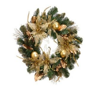 24 Artificial Poinsettia Ball and Berry Pine Christmas Wreath by Tori