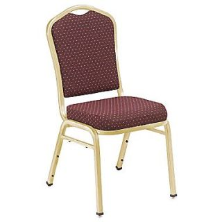 NPS Silhouette Pattern Fabric Stack Chair, Diamond Burgundy/Gold, 4/Pack