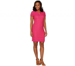 Isaac Mizrahi Live Short Sleeve Stretch Lace Dress —