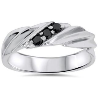 Treated Black Diamond Mens Ring 14K White Gold