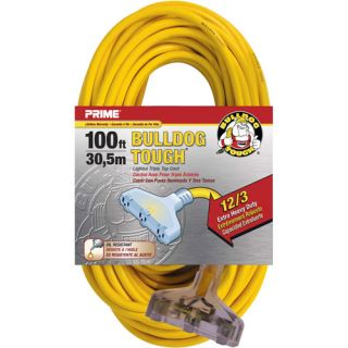 Prime Wire 100 Foot Bulldog Tough Heavy Duty Triple Tap Extension Cord With Indicator Light