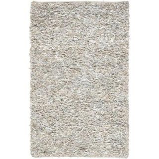 Safavieh Leather Shag White 4 ft. x 6 ft. Area Rug LSG511C 4
