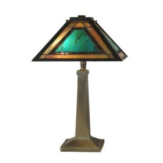Dale Tiffany 19.5 in. Brea Mission Antique Bronze/Verde Table Lamp TT10499
