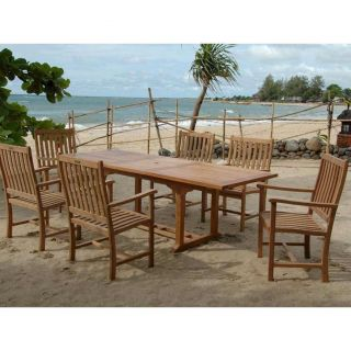 Anderson Teak AT SET 112B Bahama 8 Foot Outdoor Rectangular Extension Dining Table Set with 6 Wilshire Armchairs
