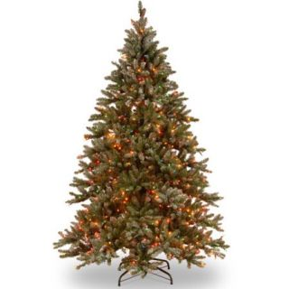 National Tree Co. Snowy Concolor Fir 9' Green Artificial Christmas Tree with 950 Multicolor Lights and Stand