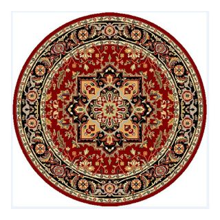 Safavieh Lyndhurst Red and Black Round Indoor Machine Made Area Rug (Common 5 x 5; Actual 63 in W x 63 in L x 0.42 ft Dia)