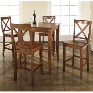 Crosley Furniture KD520001CH 5 Piece Pub Dining Set with Cabriole Leg and X Back Stools in Classic Cherry Finish