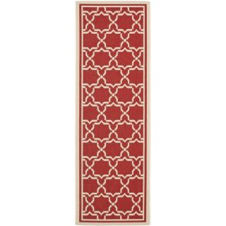 Safavieh Indoor/ Outdoor Courtyard Red/ Bone Rug (23 x 8)