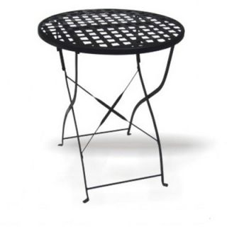 DC America Round Wrought Iron Folding Outdoor Dining Table with Mesh