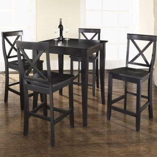 Crosley Furniture KD520001BK 5 Piece Pub Dining Set with Cabriole Leg and X Back Stools in Black Finish