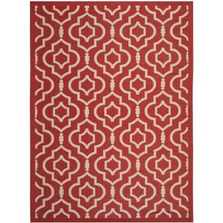 Safavieh Indoor/ Outdoor Courtyard Collection Red/ Bone Rug (8 x 11