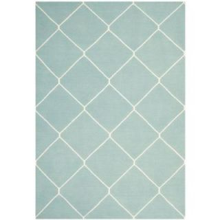Safavieh Dhurries Light Blue/Ivory 6 ft. x 9 ft. Area Rug DHU635C 6