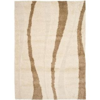 Safavieh Willow Shag Cream/Dark Brown 8 ft. x 10 ft. Area Rug SG451 1128 8