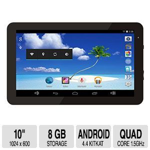 Proscan 10 Bluetooth Quad Core Tablet   Android 4.4 KitKat, Google Play, 10 1024 x 600, Quad Core 1.5GHz ARM Cortex A9, 8GB Storage, 1GB DDR3, Black   PLT1077G (BT/1G/8GB)