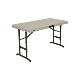 Lifetime 4 Commercial Grade Adjustable Folding Table, Almond
