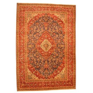 Persian Hand knotted Kashan Navy/ Red Wool Rug (99 x 143)   15669383