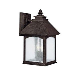 Filament Design 2 Light Outdoor Rustic Iron Light Fixture Seeded Glass DISCONTINUED CLI CPT203395937