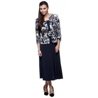 Jessica Howard Womens Navy and Ivory Jacket and Maxi Dress Set
