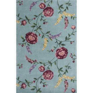 KAS Rugs Ruby Blue Floral Vines Area Rug