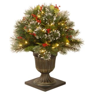 Lightly Flocked Wintry Pine Pre Lit Full Porch Bush   Christmas Trees