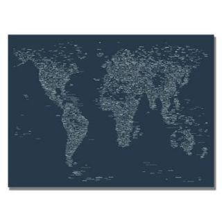 Trademark Fine Art 22 in. x 32 in. Font World Map VI Canvas Art MT0039 C2232GG