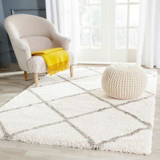 Safavieh Hudson Shag Ivory/ Grey Rug (3 x 5)   Shopping