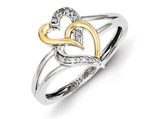 Sterling Silver & 14k  Two Tone Diamond Double Hearts Ring, Size 7