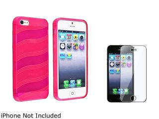 Insten Hot Pink Wave TPU Rubber Skin Case Cover + Screen Protector Compatible With Apple iPhone 5 / 5s 803762