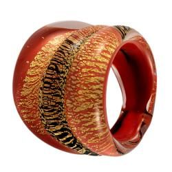 Orange Murano Glass and Aventurine Ring  ™ Shopping   Top