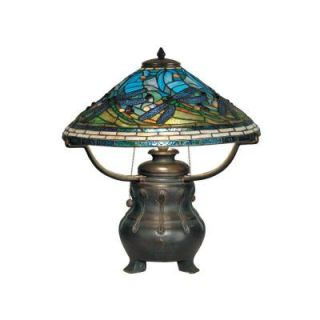 Dale Tiffany 21.75 in. Antique Bronze/Verde Dragonfly Replica Table Lamp TT90421