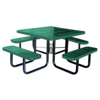 Thermoplastic Square Perforated metal Picnic Table