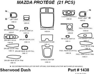 2001, 2002 Mazda Protege Wood Dash Kits   Sherwood Innovations 1438 CF   Sherwood Innovations Dash Kits