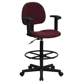 Burgundy Fabric Ergonomic Drafting Chair with Height Adjustable Arms