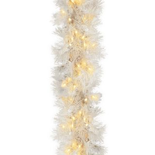 ft. White Wispy Willow Pre Lit Garland   Christmas Garland
