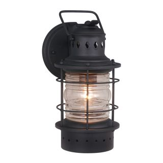 Cascadia Lighting Nautical 12 in H Textured Black Outdoor Wall Light