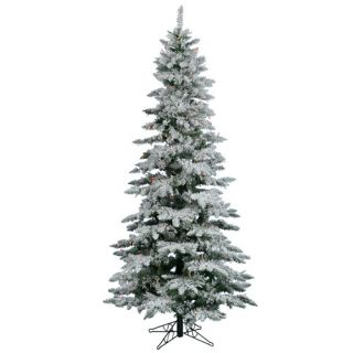 10 Snow Flocked Layered Utica Fir Slim Artificial Christmas Tree with