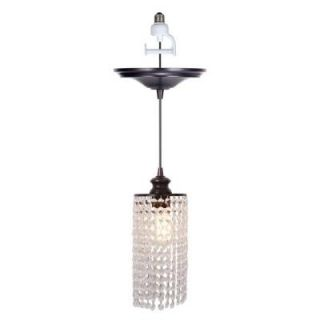 Worth Home Products 1 Light Brushed Bronze Screw In Pendant with Clear Crystal Shade PBN 3933 0011