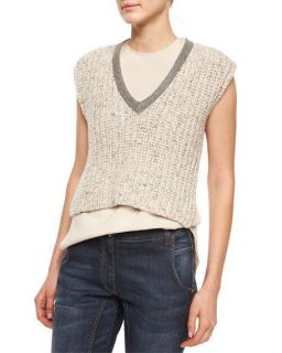 Brunello Cucinelli Embellished Neck Sweater Crop Top, Wheat