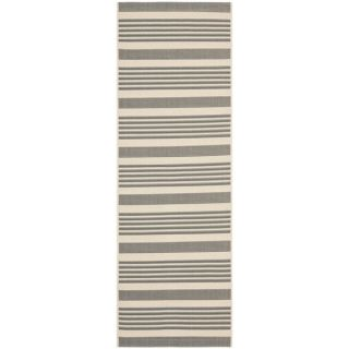 Safavieh Indoor/ Outdoor Courtyard Grey/ Bone Rug (23 x 8