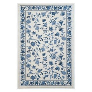 KAS Rugs Colonial 1727 Floral Area Rug   Ivory / Blue