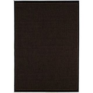 Recife Saddle Stitch Black Rug (76 x 109)