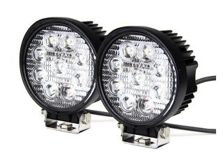 Tuff LED Lights Off Road Round LED Work Light   4 Inch 27 Watt   Flood   Two Pack