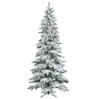 10 x 55 Flocked Utica Fir Tree with 700 Warm White Italian LED