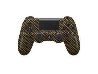 PS4 controller  Wireless Glossy  WTP 214 Carbon Fiber Yellow Black Custom Painted  Without Mods