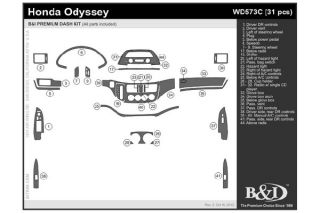 2005, 2006, 2007 Honda Odyssey Wood Dash Kits   B&I WD573C DCF   B&I Dash Kits