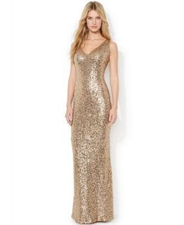 Lauren Ralph Lauren V Neck Sequined Gown   Dresses   Women