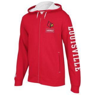 adidas Louisville Cardinals Red Pride Full Zip Hooded Sweatshirt