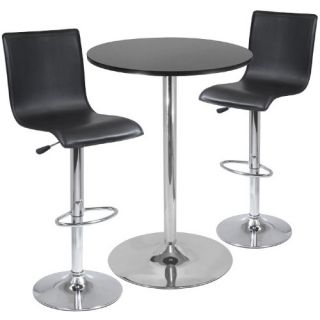 Winsome 3 Piece Pub Table Set with L Shape Back Air Lift Stools   Pub