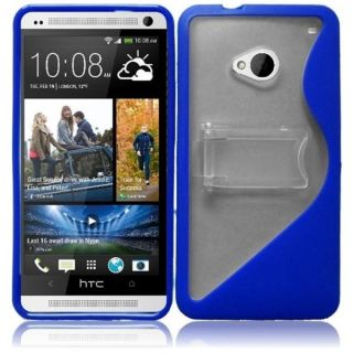 INSTEN Clear/ Blue S Shape TPU Phone Case Cover with Stand for HTC One