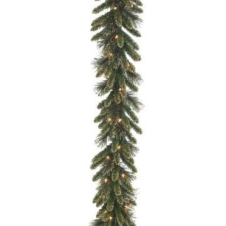 National Tree Company 9 ft. x 10 in. Glittery Gold Pine Garland with Glitter, Gold Cones, Gold Glittered Berries GPG3 341 9A